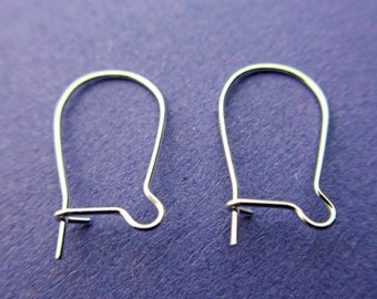 New 16mm Long 24ga 925 Sterling Silver Kidney Earwires 2 pairs