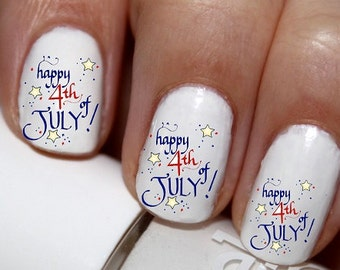 20 pc 4TH Of July Fireworks Red White And Blue Nail Art Nail Decals #cg1na