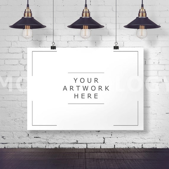 Horizontal Hanging Paper Mockup Frame Paper Clips Poster
