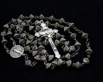 Vintage 100% Sterling Silver Rosary Beads Necklace Cross Crucifix 5 Decade Rosary