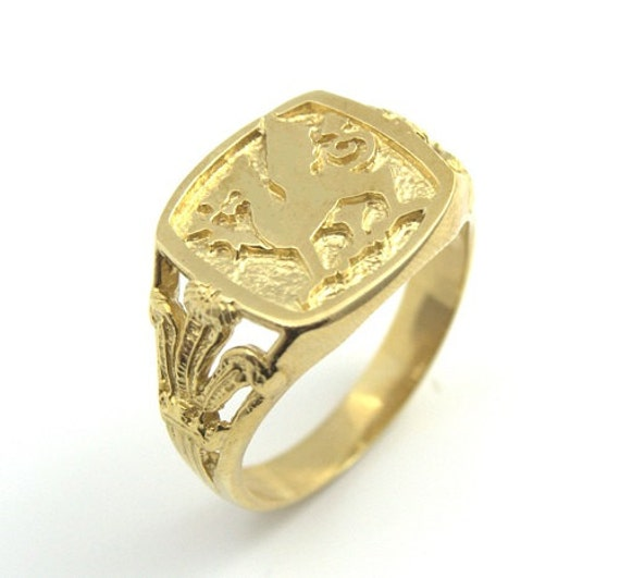 Welsh Wedding Ring: 9ct Yellow Gold Welsh Dragon And Prince Of Wales Feathers