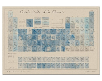 Periodic Table of the Elements in Prussian Blue art print