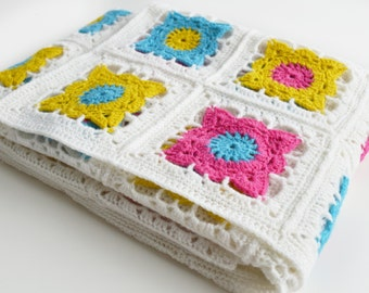 Luxury Bright Granny Square Crochet Blanket Kit