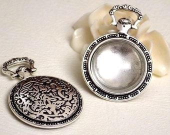 Support cabochon couleur argent antique forme montre à gousset + cabochon en verre 20 mm