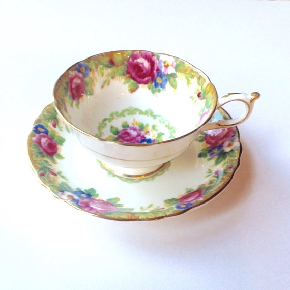Vintage Tea Cup Paragon Tapestry Rose 1930's Teacup and Saucer
