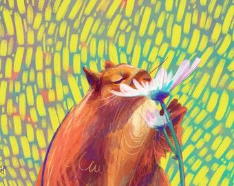 Squirrel Flower Sniff