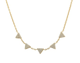 triangles necklace - cz triangles necklace