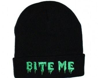 Bite Me - Black Embroidered Beanie