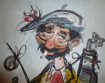 Vintage Original Impasto Painting signed P Lorian 50s/60s Retro Kitsch Chic Mid Century