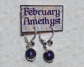February Birthstone Earrings Amethyst