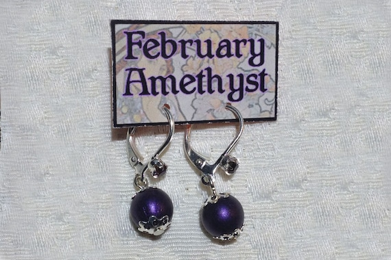 February Birthstone Earrings Amethyst