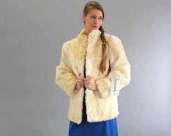 white rabbit fur coat . NWT . fur coat by Somerset . vintage fur coat size medium