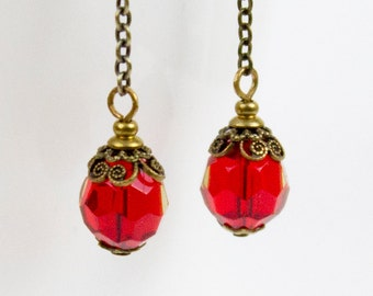 Cherry Red Earrings Czech Glass Beads // Ruby Red Bead Earrings // Long Red Earrings / Red Chain Earrings / Elegant Earrings July Birthstone