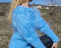 ORDER handmade mohair sweater hand knitted jumper boatneck mohair pullover blue mohair jumper crewneck sweater One size Dukyana
