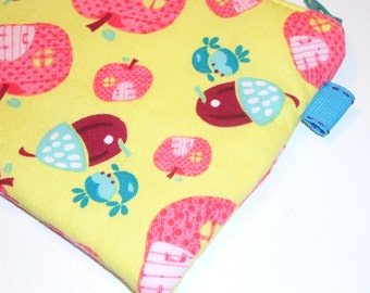 Wee Bluebirds, Acorns and Apple Houses Zippy Pouch - Cosmetic Case - Camera Bag - Small Wallet