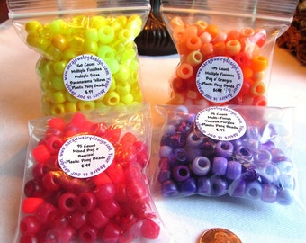 Mixed Assortments of Plastic Pony Beads in Four Flavors