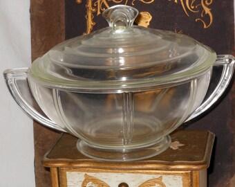 GlasBake Queen Anne Casserole Clear Glass USA Depression Era 1930s Art Deco Style  Serving Kitchen Ware
