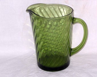 Glass Water Pitcher Avocado Green Swirl 1970s Vintage USA