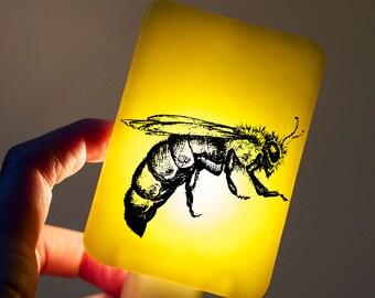 Honeybee Nightlight on Lemon Yellow - Happy Owl - childrens night light for baby or nursery - Queen Bee insect - spring summer trends