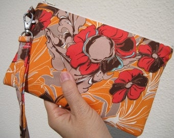Wedding Clutch 2 pockets,medium,orange, flowers,cotton, gift for her wristlet - Tutty in rouge