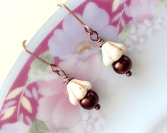 Flower Earrings, Flower Girl Earrings, Pearl Earrings, Pretty Ivory Czech Glass Flowers with Picasso Brown Pearl Earrings, KreatedByKelly