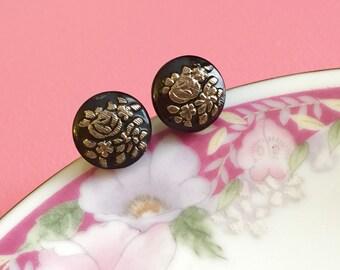 Czech Glass Post Earrings, Black Rose Earrings, Glass Flower Earrings, Silver Flower Earrings, Vintage Button Earrings, KreatedByKelly (GC)