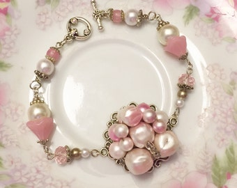 Wedding Bracelet, Assemblage Bracelet from Repurposed Vintage Bead Cluster Earrings, Pink Flower Bracelet, Handmade By KreatedByKelly SALE