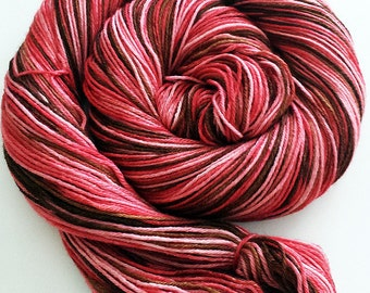 Handdyed Merino/Silk Sock Yarn - Hot Chocolate Love Variation - brown, pink, red - Classy