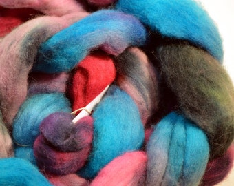 Handpainted Wool Roving /Combed Top 3 1/2 ounces  98 grams  BRIANA   by Dudleyspinner