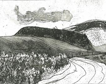 Original Etching Intaglio Print - THE RIDGE - Cape Breton Farm Print  8x6 - Ready to Ship