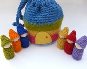 Gnome Peg doll tote wood gnome dolls felted pouch Waldorf