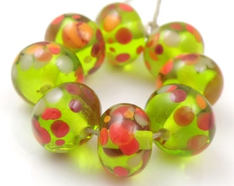 Poppy Field - Handmade Artisan Lampwork Glass Beads 8mmx12mm - Red, Green - SRA (Set of 8 Beads)