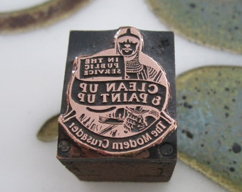 Vintage Letterpress Printers Block In the Public Service Clean Up & Paint Up The Modern Crusader