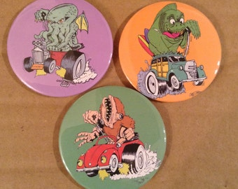 The Elder Rods Button Set - Lovecraft inspired hot rod monsters