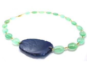 Fluorite Green Necklace, Fluorite Necklace, Green Fluorite Necklace, Mint Green Fluorite Necklace, Fluorite Statement Necklace