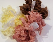 Petal Pink, Cream, Tobacco Brown, Seam Binding- Plain or Scrunched, 15 yards, Packaging, Scrapbooking, Shabby Pretty Embellishment