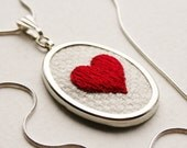 Red Heart Necklace Hand Embroidered Hand Stitched Love token