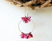 Pink Flower Hoop Earrings - vintage two tone metal flowers with gold fill hoops