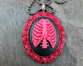 Cameo Necklace - Rib Cage  - Red Glitter - Resin Ribs Pendant