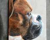 "Pet Portrait Painting, 11"" x 14"" Custom Dog Portrait, Boxer Art, Oil Painting on Canvas"