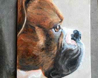 Custom Pet Portrait Painting Custom Dog Portrait, Boxer Art, Oil Painting on Canvas