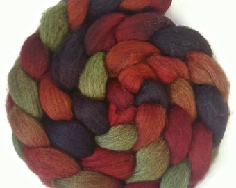 Handpainted Dark BFL Wool Roving - 4 oz. DRAGON SCALES - Spinning Fiber