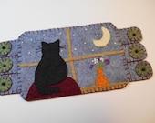 Cat, Black Cat Fabric Coaster, Wool felt penny rug,