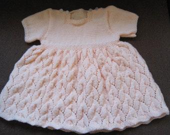 Baby Leaf Pattern Hand-Knit Dress