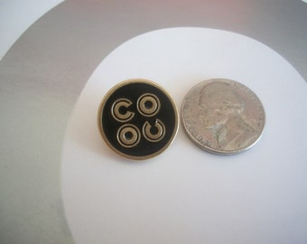 COCO Chanel button gold and black writing tone Rare Limited Art