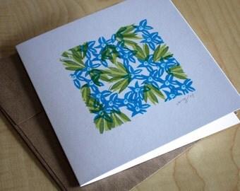 Lobelia - Blue Flowers - 5x5 - Blank Note Card - Frameable Art  - Hand Printed