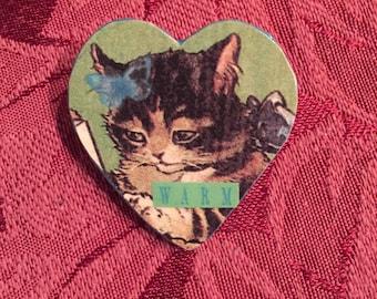 Cat Lover- Art Pin/Brooch- Heart Shaped Collage Pin- Wear a Work of Art!- Warm Kitty