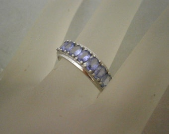 Clearance Sale Tanzanite and 10K White Gold Vintage Ring size 7.5, Tanzanite Jewelry, 7 Stones
