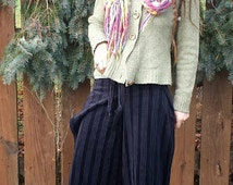 Tie Wrap Pants in Decorative Black Stripped and Textured Material Wide Leg