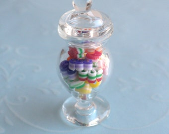 Christmas Ribbon Candy in a Glass Jar - Dollhouse Miniature Sweets Candies